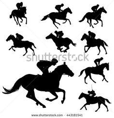Racing Horses And Jockeys Silhouettes 2
