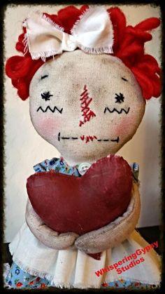 Cloth Doll - PRIMITIVE Doll - Rag Doll - Softie - Handmade Doll - Raggedy Ann