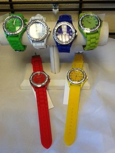 Jelly Watches with Rhinestone Embellishment in assorted colors: $12.00. Styles and colors not guaranteed. This item is currently at our Granite Bay Location. Call or Email for more information. Email: polkadotsproshop@gmail.com Phone: 916-791-9070