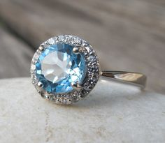 Gorgeous Blue Topaz Halo Ring- Engagement Ring- Promise Ring- Her and His Promise Rings- December Birthstone Ring- Anniversary Ring