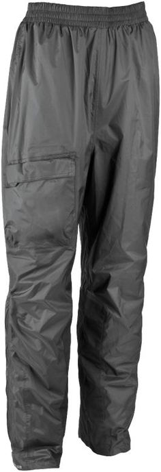 FirstGear Splash: Waterproof/Breathable shell made of 210 denier nylon taffeta.  Full elastic waist for a flexible fit.  Single right thigh cargo pocket with envelope closure.  Articulated knees for comfort in the riding position.  Knee high side zip over a waterproof/breathable solid gusset for easy on/off.  Heat-resistant material on inner calf.  Located inside the pant against the back waist is an integrated stuff sack for easy storage in minimum space.