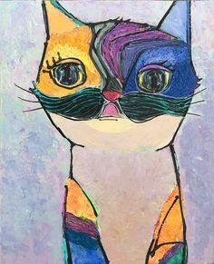 個性的な猫の絵 |ねこみち 猫道 |中尾道也 Cat Paintings, Space Cat, My Works, Cats, Color, Gatos, Kitty Cats, Cat Breeds, Colour