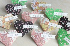 12 Origami Paper Hearts Name Place Cards, Handmade Custom Stamped Names Option, Wedding Bridal Paper Heart Favors, Pink Green Black Yellow