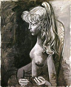 Pablo Picasso - Sylvette (Portrait de Mademoiselle D.), 1954. Oil on canvas, 81 x 65 cm. Kawamura Memorial DIC Museum of Art, Japan