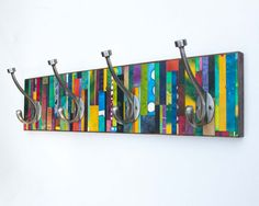 Wall Coat Rack, Mosaic Handmade Paper, Vertical Colorful Stripes, Wall Decor, Recycled Wood, Mosaic Striped Coat Rack