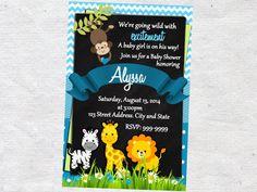 Jungle Safari Animals Baby Shower Invitation Chalkboard Chevron Pattern Jungle Safari Animals Shower Invitation