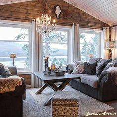 Discover recipes, home ideas, style inspiration and other ideas to try. Cottage Living, My Living Room, Home And Living, Le Logis, Modern Log Cabins, Piece A Vivre, Cabin Interiors, Cabins And Cottages, Cozy Cabin