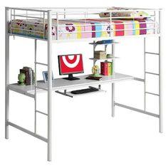 Kids Workstation Bunk Bed Metal Twin - Walker Edison