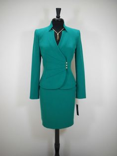 NEW-TAHARI-2PC-SKIRT-SUIT-12-GREEN-STYLISH-BUSINESS-CHIC