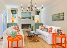 Family room in Kiawah Island home designed by Cindy Mihuc {from House of Turquoise blog}