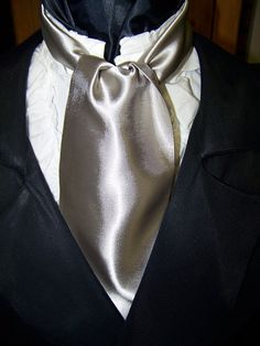 Cravat In A Sliver Fabric or Ascot Mens Victorian by lavonsdesigns, $19.95