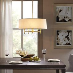 Madison Park Signature Presidio White/ Gold Chandelier with White Taper Shaped Shade - x x x x - White/ Gold) (Cotton) Dining Light Fixtures, Dining Lighting, Kitchen Lighting, Dining Table Chandelier, Entryway Lighting, Bedroom Lighting, Interior Lighting, Lighting Ideas, 5 Light Chandelier