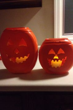 Pumpkins that I made out of Tide Pod containers