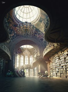 Fantasy Art Landscapes, Fantasy Landscape, Fantasy Places, Fantasy World, Book Aesthetic, Aesthetic Pictures, Beautiful Architecture, Art And Architecture, Fantasy Concept Art
