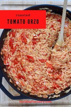 Oven roasted tomatoes pair perfectly with fresh cooked orzo in this delicious dairy-free and vegan pasta dish. This easy to make orzo comes together in about 25 minutes and makes the perfect side dish. #pasta #tomato #sidedish #vegan #dairyfree