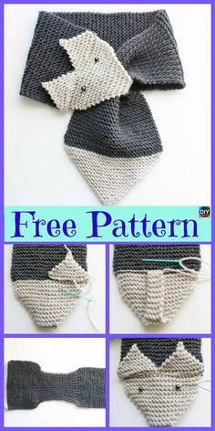 5 Cutest Knitting Fox Scarf Free Patterns - DIY 4 EVER - crochet / knit patterns Loom Knitting, Knitting Patterns Free, Knit Patterns, Free Knitting, Baby Knitting, Free Crochet, Free Pattern, Knit Crochet, Crochet Hats