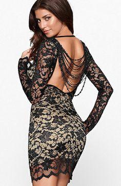 Black Long Sleeve Beading Backless Lace Dress - Sheinside.com
