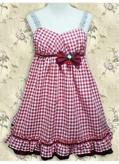Cotton Red White Check Gingham School Lolita Dress