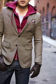 wearing a hoodie under blazer is both warm in winter and looks really good.