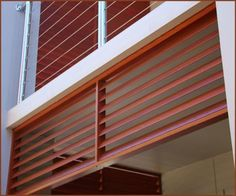 Deco wood - aluminium with timber image - Malibu solar control screens finished in Western Red Cedar Western Red Cedar, House Extensions, Inline, Screens, Blinds, Architecture Design, Solar, It Is Finished, Building
