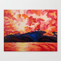 Red Mountain - Hot Coastal Art in Acrylic Stretched Canvas by Morgan Ralston - $85.00