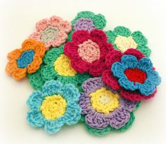 Crocheted Flowers by Easymakesmehappy, via Flickr
