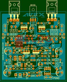 PCB Layout Power Amplifire APEX AX9 Hobby Electronics, Electronics Projects, Diy Amplifier, Electronic Kits, Audio, Layout, Audio Amplifier, Electronic Circuit, Electronic Schematics