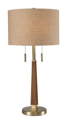 Dimond Lighting - Jorgenson collection table lamp with mahogany finished wood and satin brass metalwork with tan crosshatch textured linen shade.   Showroom: IHFC C402   #hpmkt