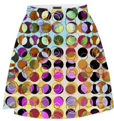 MELANGE OF CIRCLES IV - Summer Skirt 1 from Print All Over Me #art #pattern #circles #dots #colorful #printalloverme #ateliercolourvision #skirts #summerwear #women