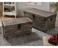 Set de 2 baúles de madera de abeto - marrón |