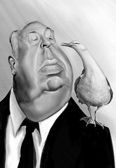 karikatuur Alfred Hitchcock