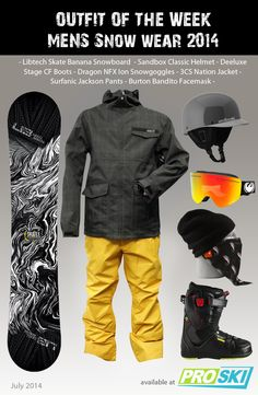 OUTFIT OF THE WEEK - Mens Snow Wear 2014 available at PROSKI #snowwear #snowgear #outfit #snowgoggles #burton #3CS #sandbox #dragon #libtech #deeluxe #surfanic