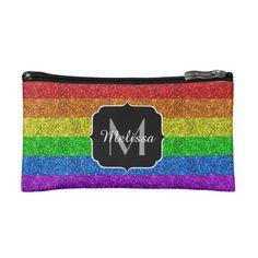 LGBT flag vibrant sparkles Monogram Cosmetic Bag - glitter glamour brilliance sparkle design idea diy elegant