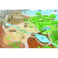 Le Toy Van speelkleed safari. Met een riviertje, grotten en verschillende gebieden.