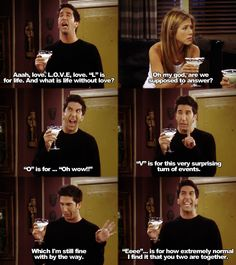 Lmao one of my favorite Ross moments...when Ross invites Rachel, Joey, and Charlie over for dinner and gets drunk after Rachel and Joey start dating lolol Tv Show Quotes, Movie Quotes, Funny Quotes, Friends Quotes Tv Show, 90s Quotes, Funny Memes, Humour, El Humor, Friends Moments