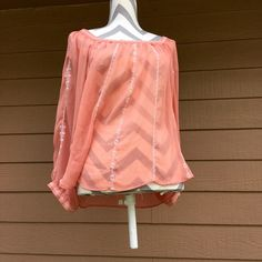 LOWEST Sheer peach top Size 1X sheer peach top. Has white detailing. Long sleeve. No flaws! Bust- approx 19 in laying flat, length- approx 25 in. All pictures are taken in natural light so color may vary. Comment with ?s. I do not trade. Forever 21 Tops Blouses