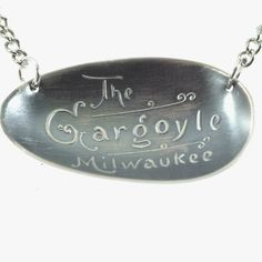 Milwaukee Gargoyle Necklace, Sterling Silver Spoon Jewelry, Milwaukee Wisconsin Necklace, Gargoyle Jewelry, Souvenir Spoon Pendant (P5652) by Spoonier on Etsy