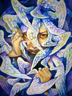 Sending All My Messages With The Doves Above Who Can Soar High Enough To Reach The One I Love~ Creative Fantasy Illustrations ~ By Juri The Dreamer~♥•✿ •♥•✿