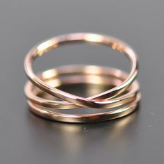 Rose Gold Infinity Plus One 14K Gold Ring Set von seababejewelry