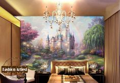Custom cartoon wallpaper mural fairy tale dream castle rainbow forest grassland tv sofa bedroom living room cafe background