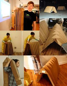Shell House (living portable cardboard shelter) by Carolina Pino