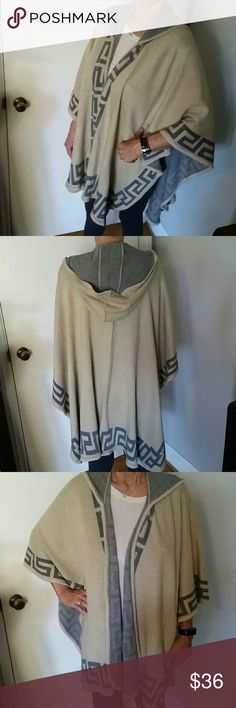 HOODED JACQUARD OPEN PONCHO NWT. Very comfortable,  not too heavy or light! Smoke free home! Make me an offer! Get a good discount when you bundle! Ellie Kate Jackets & Coats