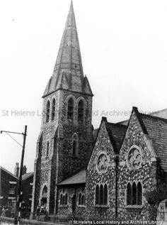 Black and white photograph showing St Peter's Church, Parr, St.Helens 1960 MSE - The Frank Sheen Collection 2 - Photographs showing various buildings, events and housing in St. 2 - Photographs showing churches in the St. St Helens Town, Saint Helens, St Peter's Church, The Old Days, Working Class, Photographs, Photos, Christianity, Buildings