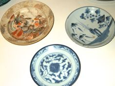 Satsuma plate and two chinese plates
