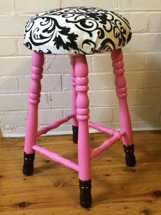 Cute pink kiddies stool black velvet seat ❤️