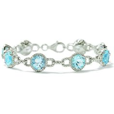 Cool blue topaz shimmers among diamond accents and textured sterling silver on this lovely bracelet. Item no. 867673