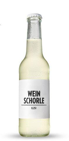"""Minimalistic """"Weinschorle"""" bottle (white wine spritzer)"""