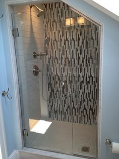 Trendy Under The Stairs Bathroom With Shower Floors Ideas Frameless Shower Enclosures, Tub Enclosures, Frameless Shower Doors, Glass Shower Doors, Bathroom Under Stairs, Downstairs Bathroom, Small Bathroom, Bathroom Ideas, Shower Bathroom