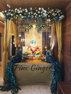 Peacock Theme Ganpati Decoration Contact +919967144050 #decorideas #decor  #ganpatidecoration #peacock #