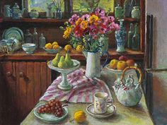 Margaret Olley. Australia. An image of Ranunculus and Pears. Art Gallery of NSW.